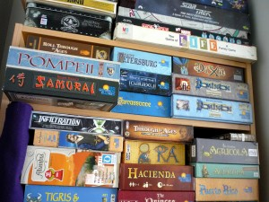 The majority of our board game collection